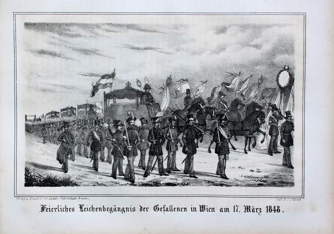 Wien Bürgerliche Revolution 1848 Prozession Studentika