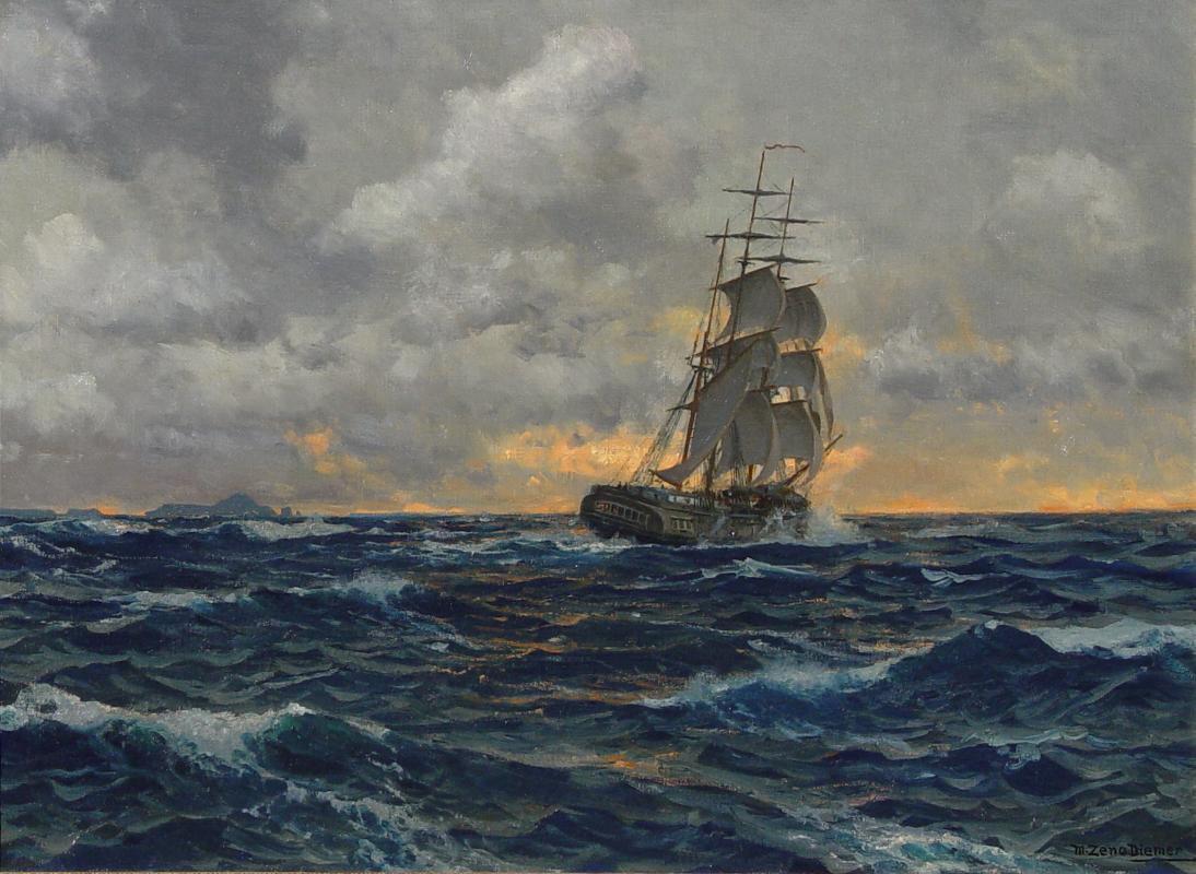 Segelschiffe auf dem meer  Michael Zeno Diemer Segelschiff Dreimaster Fregatte Kapitän Matrose ...