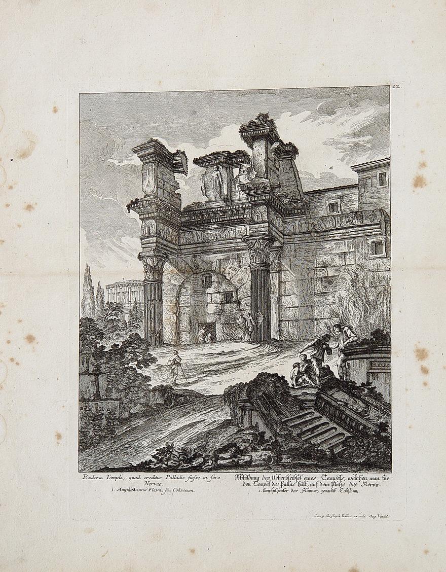 Kupferstich Georg Christian Kilian Rom Antike Tempel Pallas Athene Vesta  Nerva Kolosseum Amphitheater Forum Romanum